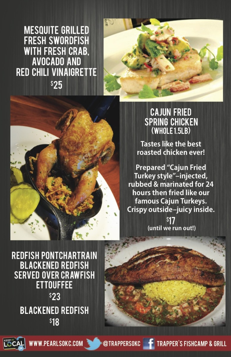 Trapper s fishcamp grill pearl 39 s restaurant group for City fish menu
